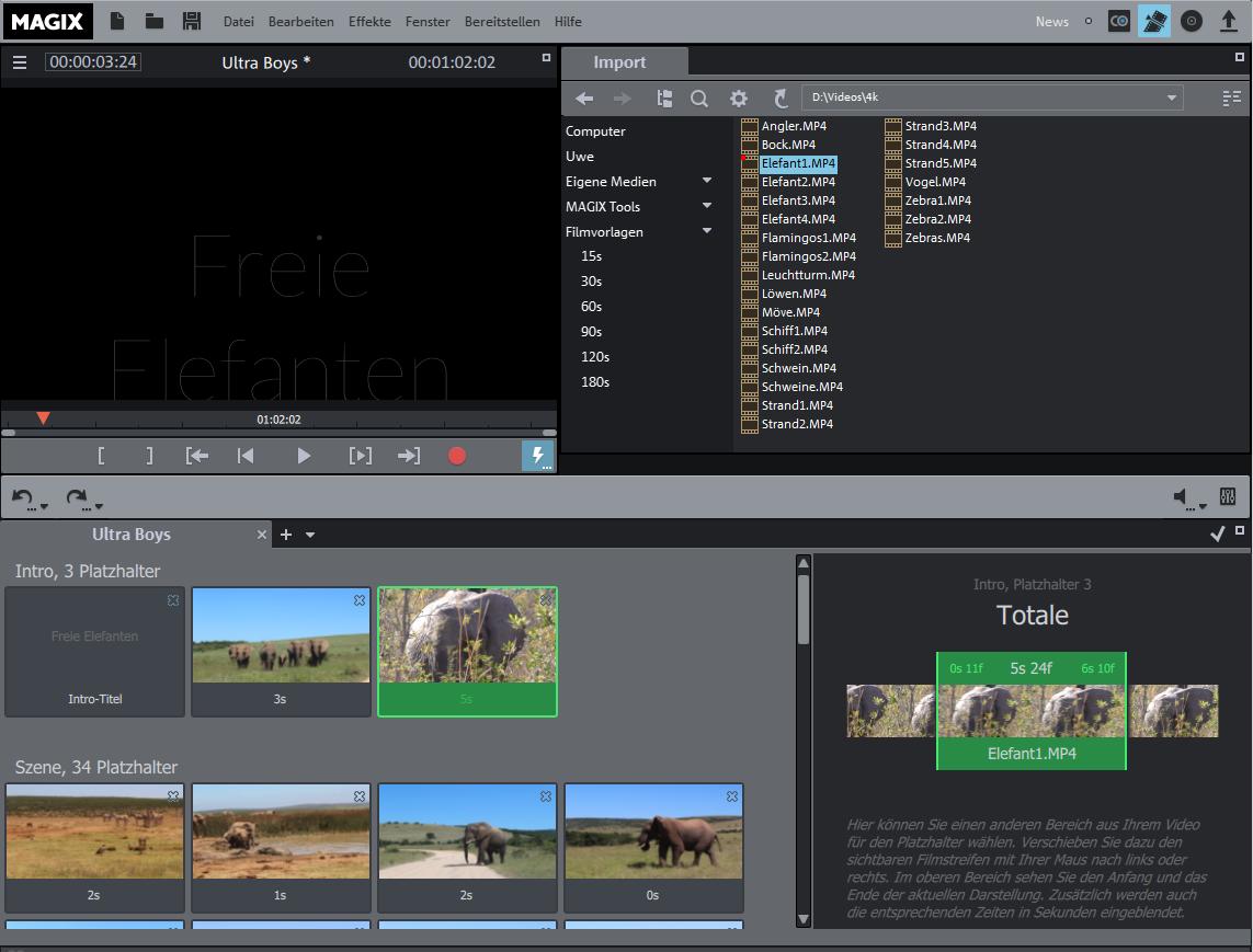 MAGIX Video deluxe 2016 - Neue Filmvorlagen - Film Bearbeitung
